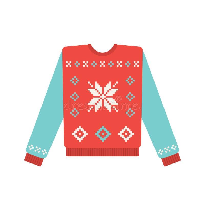 Brzydki boże narodzenie pulower z płatka śniegu wzorem ilustracja wektor