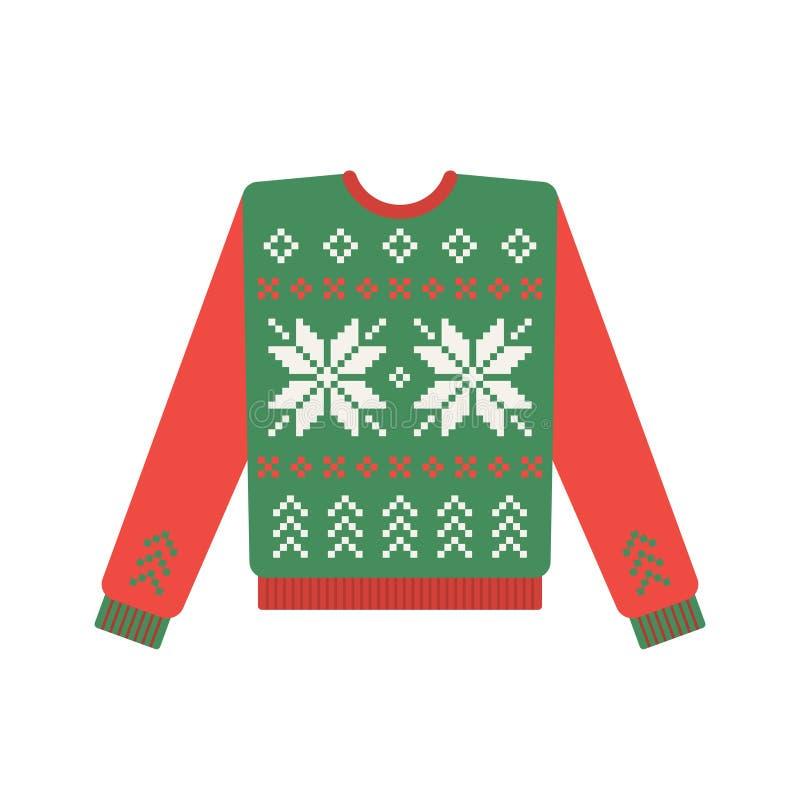 Brzydki boże narodzenie pulower z rogacza wzorem ilustracja wektor