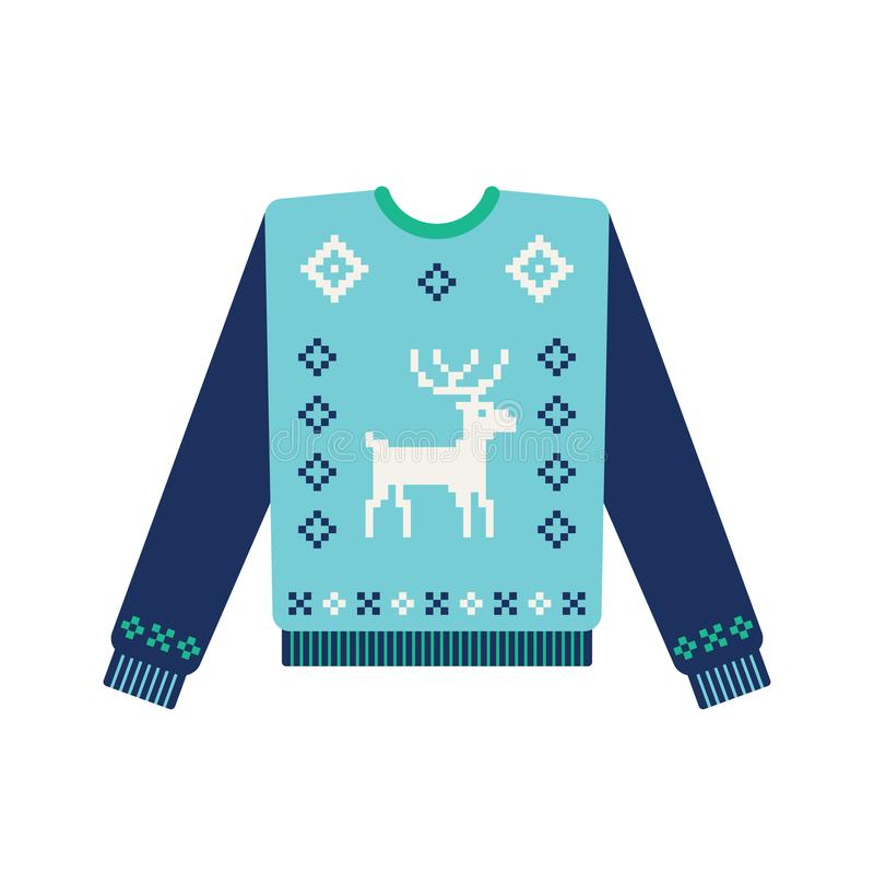 Brzydki boże narodzenie pulower z trykotowym rogaczem royalty ilustracja