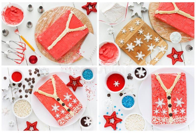 Brzydki Bożenarodzeniowy puloweru tort dla zimy wakacyjnego przyjęcia, kreatywnie zdjęcia royalty free