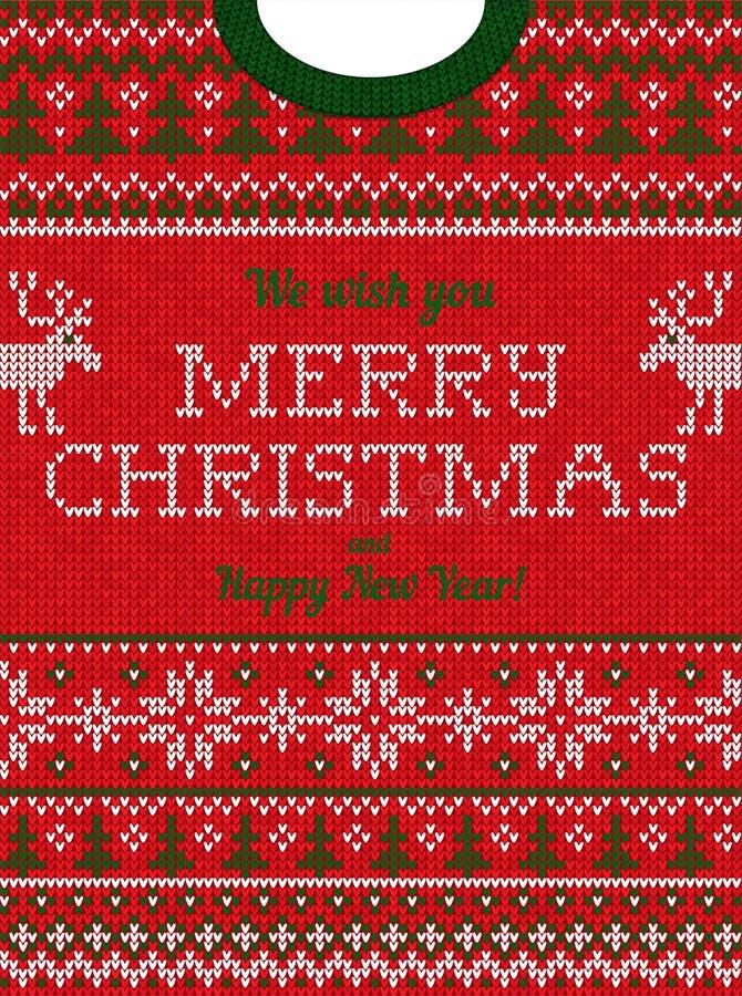 Brzydki puloweru przyjęcie gwiazdkowe zaprasza Trykotowi tło wzoru scandinavian ornamenty zdjęcie royalty free