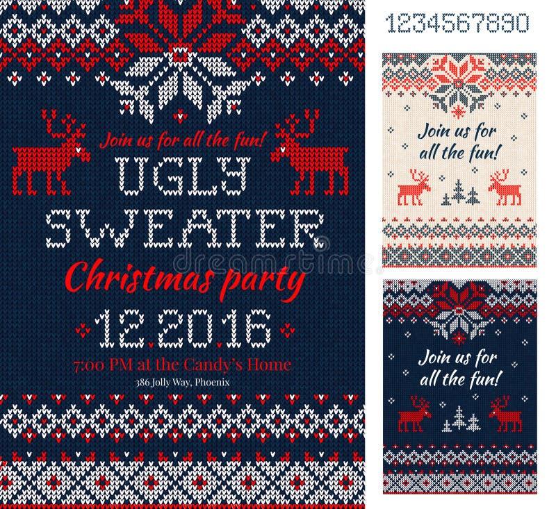 Brzydkie puloweru przyjęcia gwiazdkowego karty trykotowy wzór scandinavia ilustracji