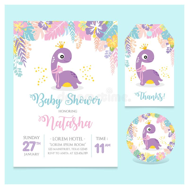 Set of Baby shower card with little dinosaur girl theme party stock photos