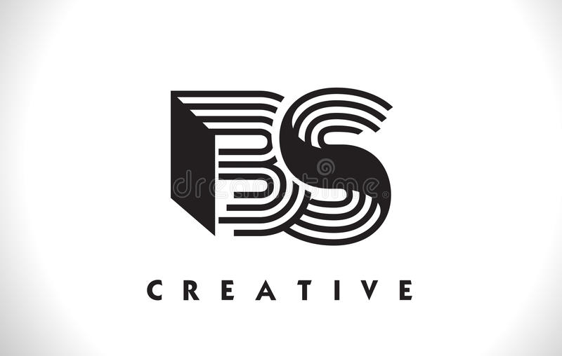 BS loga list Z czerni linii projektem Kreskowy Listowy Wektorowy Illus ilustracji