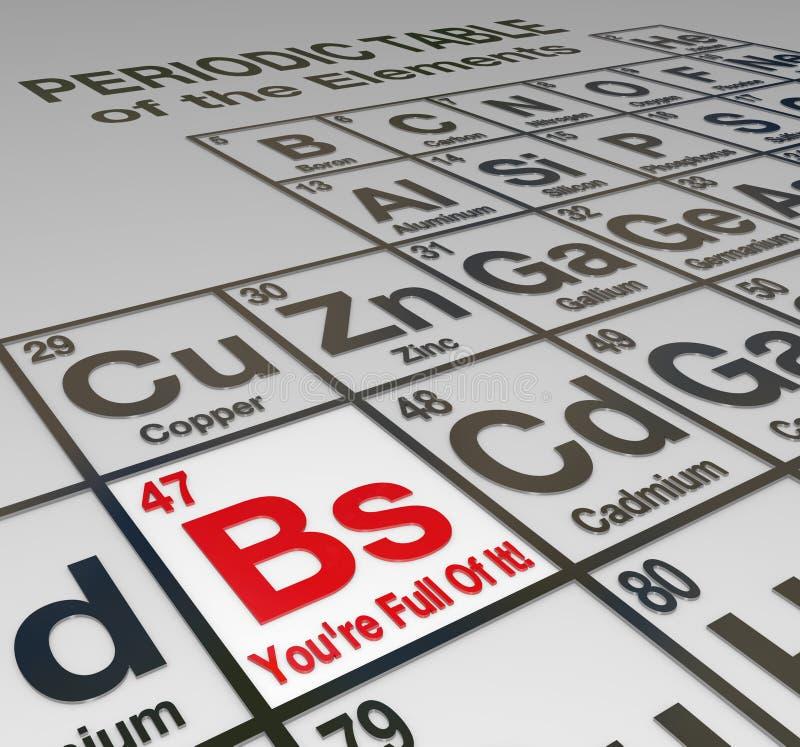 BS você está completo dele mentiroso desonesto da tabela periódica falso ilustração stock