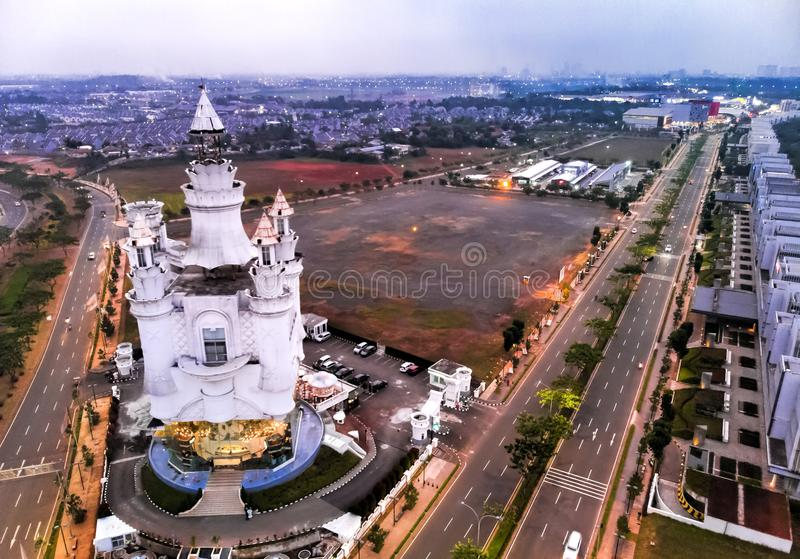 BSD Tangerang city aerial view, Indonesia. July 2018. BSD junction, floating castle nigh traffic: Serpong, Tangerang Selatan - July 2018 stock photos