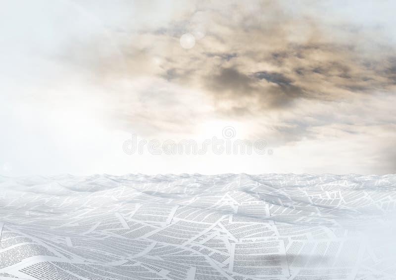 Bsea av dokument under beige himmel vektor illustrationer