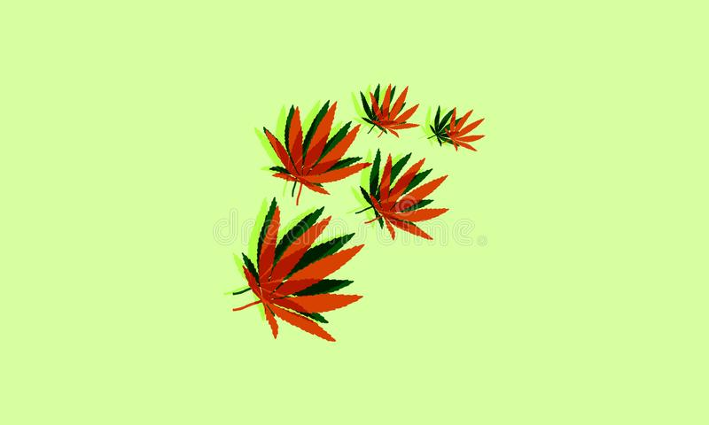 Vector illustration - hemp leaves. Bstract, addiction, black, botany, bright, cannabis, colorful, decoration, design, drug, floral, flower, ganja, grass, green royalty free illustration