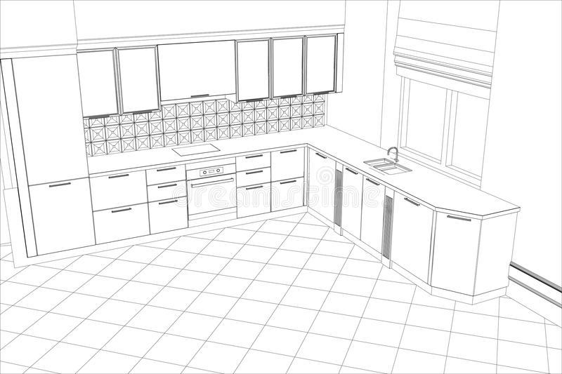 Bstract sketch design interior kitchen. Bstract sketch design of interior kitchen. Illustration created of 3d royalty free illustration