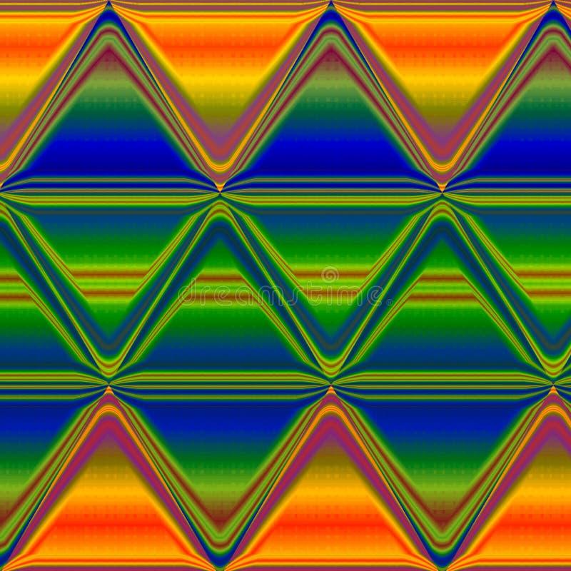Bstract tęczy zygzag pakował lampasów etnicznych spektralnych kolory royalty ilustracja