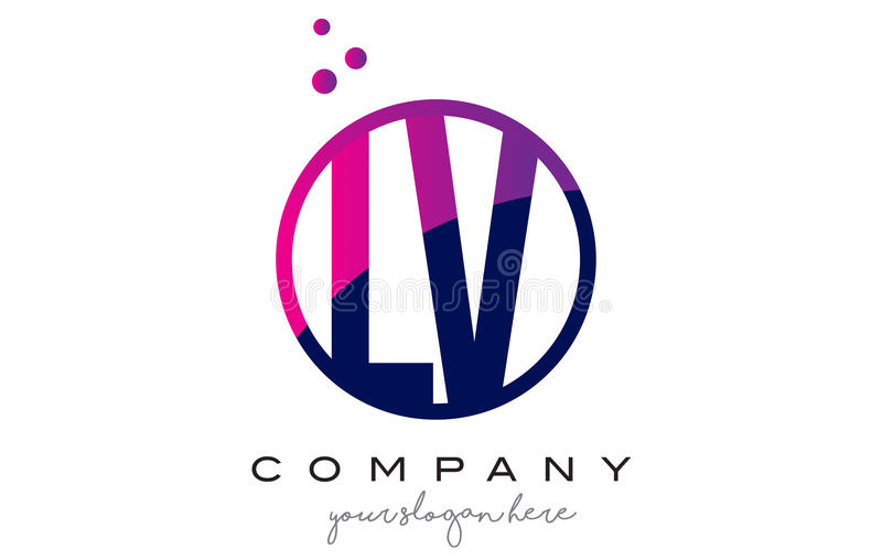 BT L lettre Logo Design de cercle de V avec Dots Bubbles pourpre illustration de vecteur