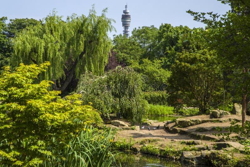 BT tornet och japanöträdgården i regenter parkerar royaltyfri foto