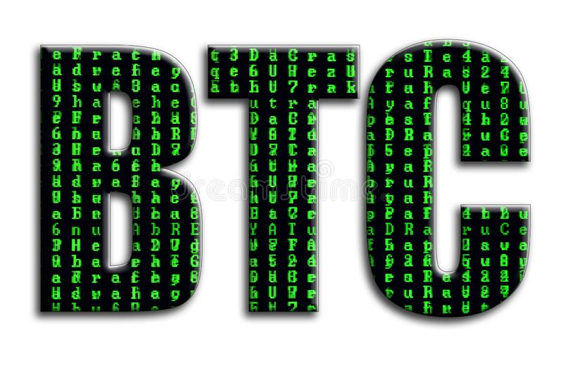 btc Η επιγραφή έχει μια σύσταση της φωτογραφίας, η οποία απεικονίζει τα πράσινα σύμβολα δυσλειτουργίας στοκ φωτογραφίες