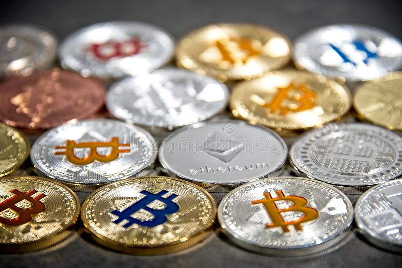 Download BTC And ETH, Bitcoin And Ethereum Coins Stock Photo - Image of network, blockchain: 113359308