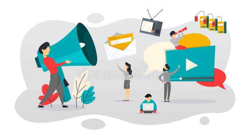 BTL eller nedanför linjen kommunikation med kunden royaltyfri illustrationer