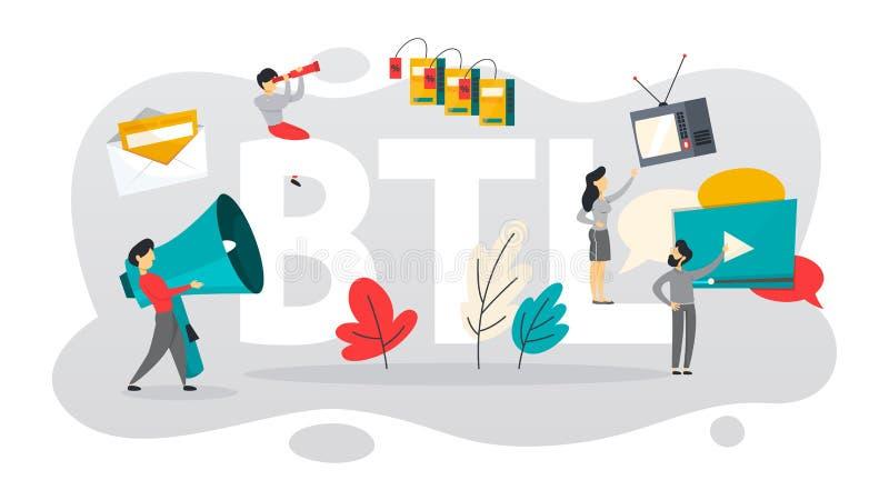 BTL ou au-dessous de la ligne communication avec le client illustration de vecteur