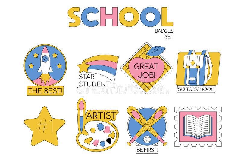 Back to school set collection of badges. For students, pupils clothes. Cartoon modern trendy line illustration. Education icons Fashion hipster design for vector illustration