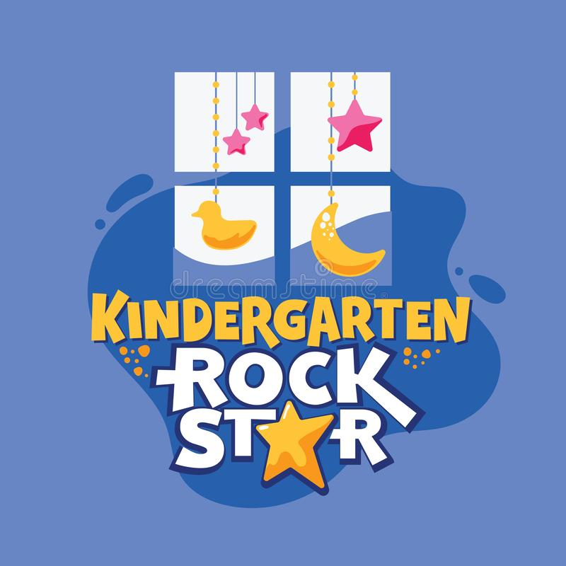 Kindergarten Rock Star Phrase, Window with Duck and Stars Background, Back to School Illustration stock illustration