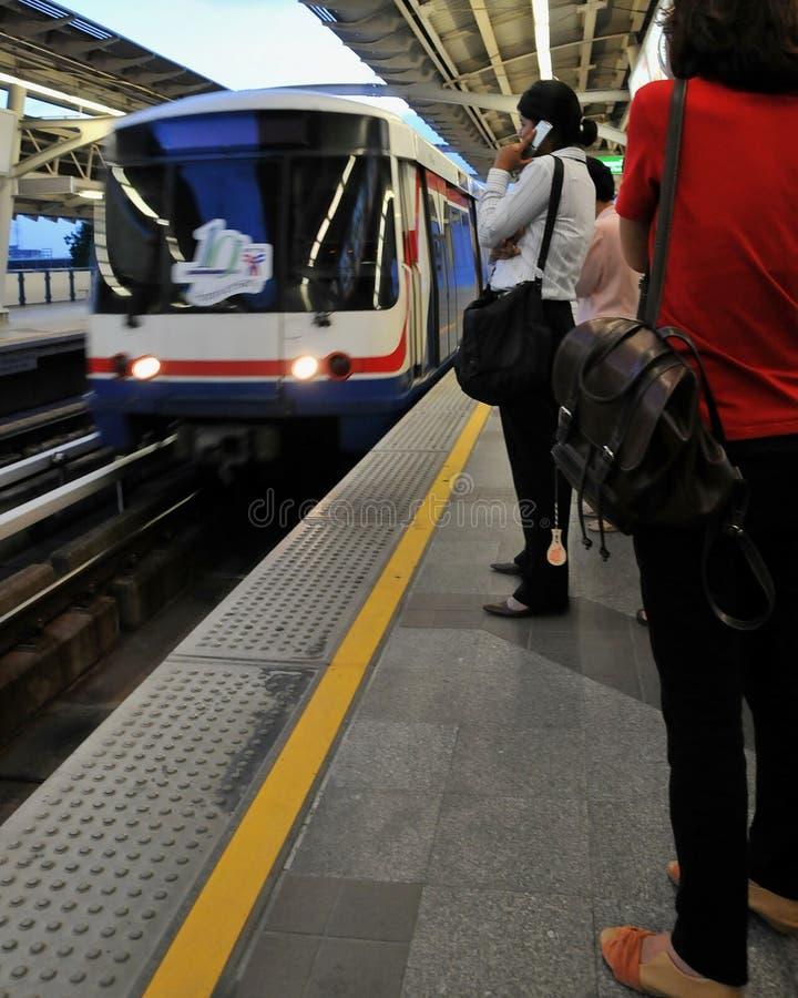 BTS Or Skytrain Arriving At A Station In Bangkok Editorial Image