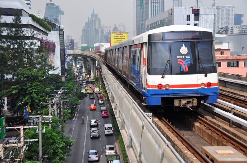 BTS Skytrain in Bangkok Celebrates Thirteen Years stock photography