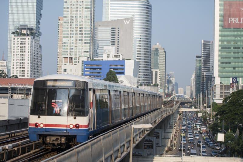 THAILAND BANGKOK SATHON SKY TRAIN. A bts skytrain over the trafic at the sathon road in the city centre at Sathon in the city of Bangkok in Thailand. Thailand royalty free stock photo