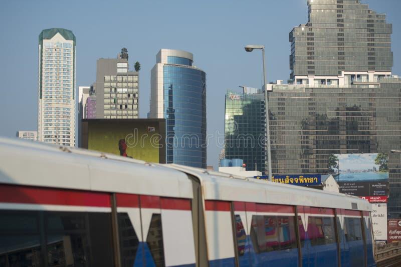 THAILAND BANGKOK SATHON SKY TRAIN. A bts skytrain over the trafic at the sathon road in the city centre at Sathon in the city of Bangkok in Thailand. Thailand stock image