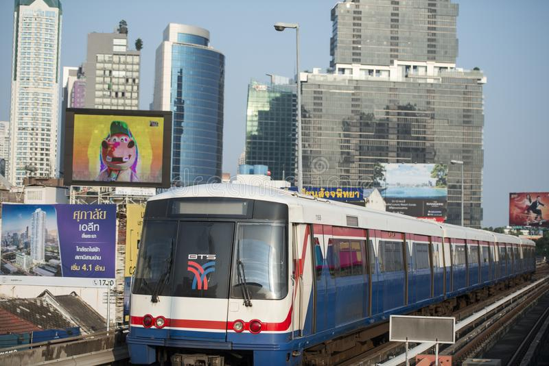THAILAND BANGKOK SATHON SKY TRAIN. A bts skytrain over the trafic at the sathon road in the city centre at Sathon in the city of Bangkok in Thailand. Thailand royalty free stock photography