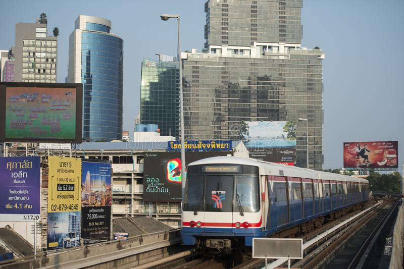 THAILAND BANGKOK SATHON SKY TRAIN. A bts skytrain over the trafic at the sathon road in the city centre at Sathon in the city of Bangkok in Thailand. Thailand stock images