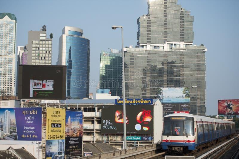 THAILAND BANGKOK SATHON SKY TRAIN. A bts skytrain over the trafic at the sathon road in the city centre at Sathon in the city of Bangkok in Thailand. Thailand stock photos