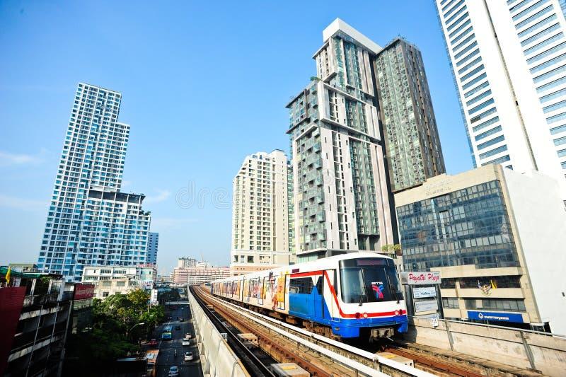 BTS or Skytrain at a Station in Bangkok royalty free stock image