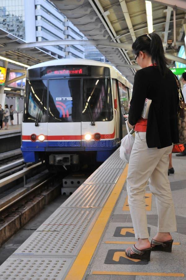 BTS Skytrain at a Station in Central Bangkok royalty free stock images