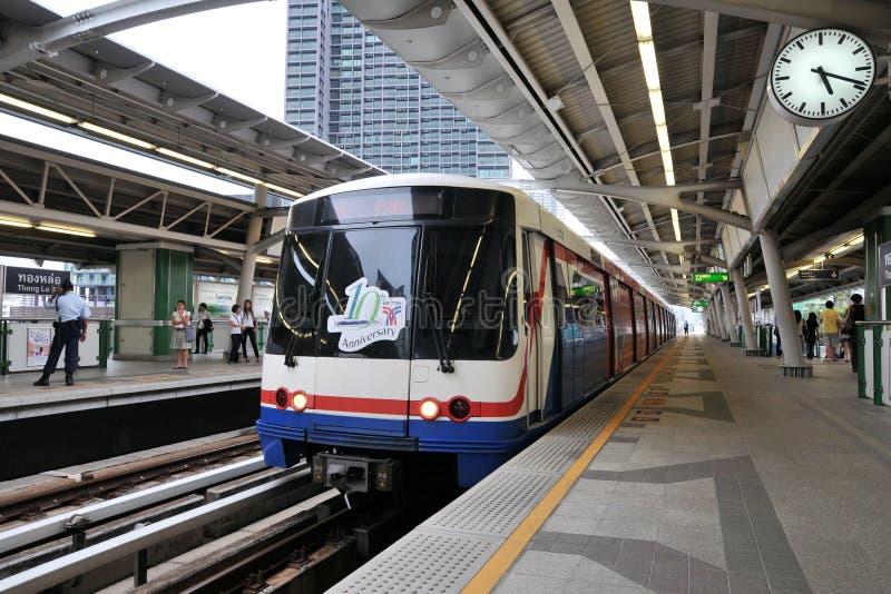 BTS Skytrain at a Station in Central Bangkok stock photography