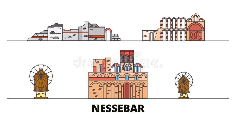 Bułgaria, Nessebar punktów zwrotnych wektoru płaska ilustracja Bułgaria, Nessebar kreskowy miasto z sławnymi podróż widokami, lin ilustracja wektor