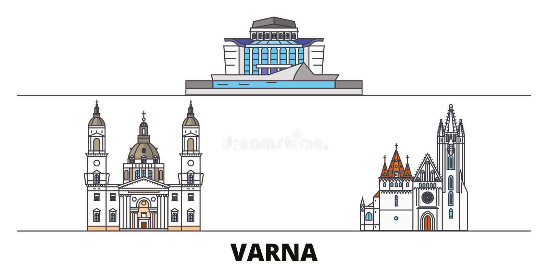 Bułgaria, Varna płaska punktu zwrotnego wektoru ilustracja Bułgaria, Varna kreskowy miasto z sławnymi podróż widokami, linia hory ilustracja wektor