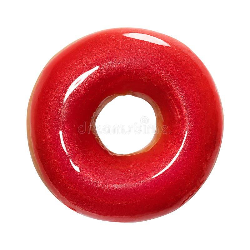 Buñuelo con el esmalte brillante rojo aislado en el fondo blanco Un buñuelo rojo redondo Front View Visión superior foto de archivo libre de regalías