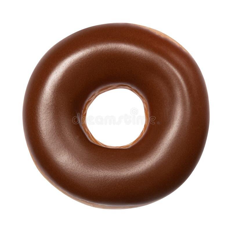 Buñuelo con el esmalte del chocolate aislado en el fondo blanco Un buñuelo americano redondo del chocolate Front View Visión supe foto de archivo