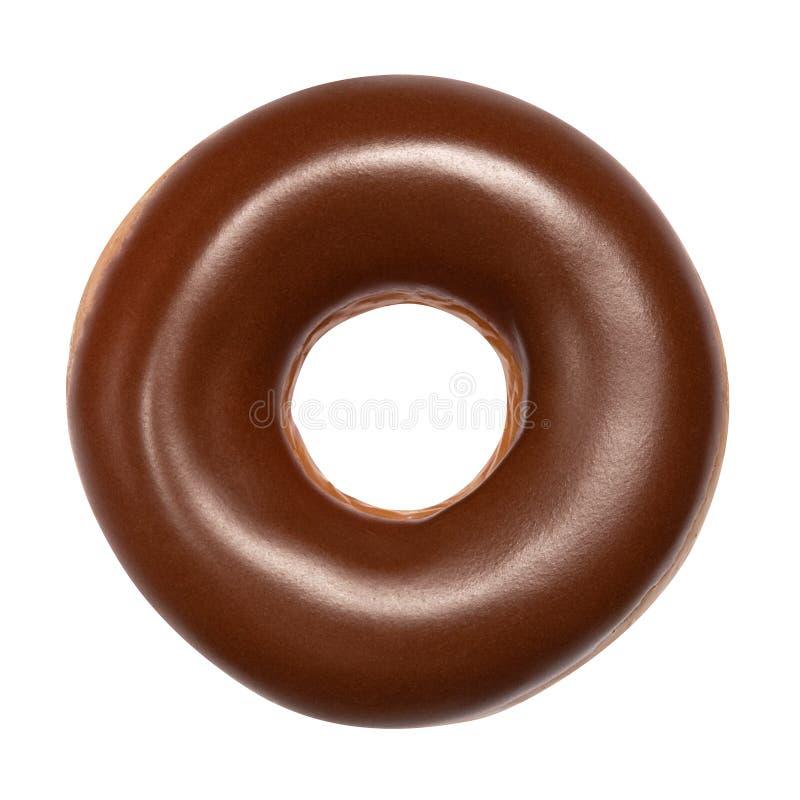 Buñuelo con el esmalte del chocolate aislado en el fondo blanco Un buñuelo americano redondo del chocolate Front View Visión supe imagen de archivo libre de regalías