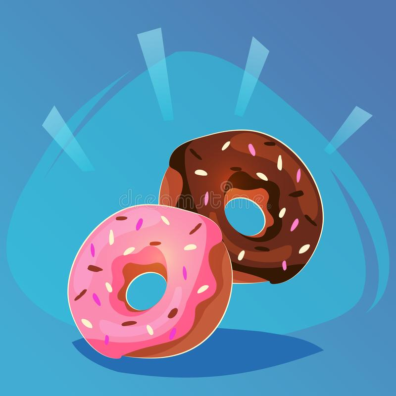 Buñuelo con el icono dulce del juego de la comida del esmalte del rosa y del chocolate, comida o diseño del sitio web, ejemplo mó ilustración del vector