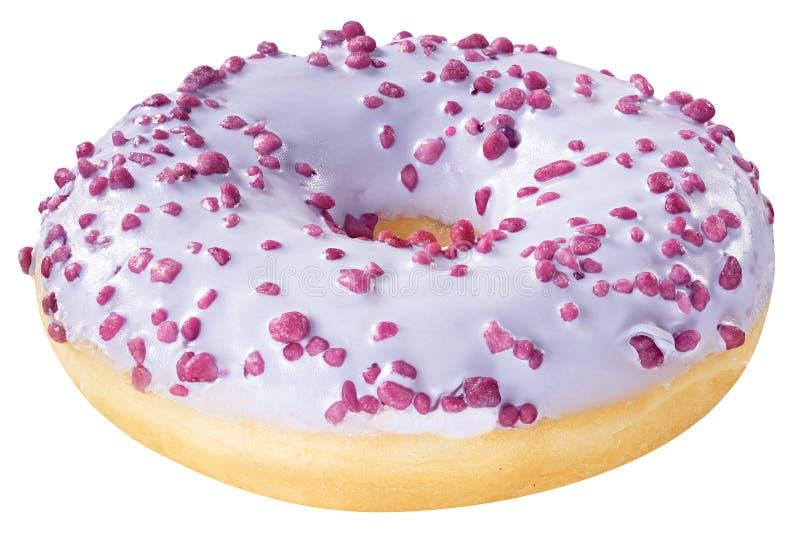 Buñuelo con púrpura helada esmaltado aislado en el fondo blanco Un buñuelo violeta redondo del esmalte imagen de archivo libre de regalías