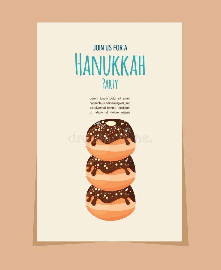 Buñuelo de Jánuca, comida judía del día de fiesta stock de ilustración