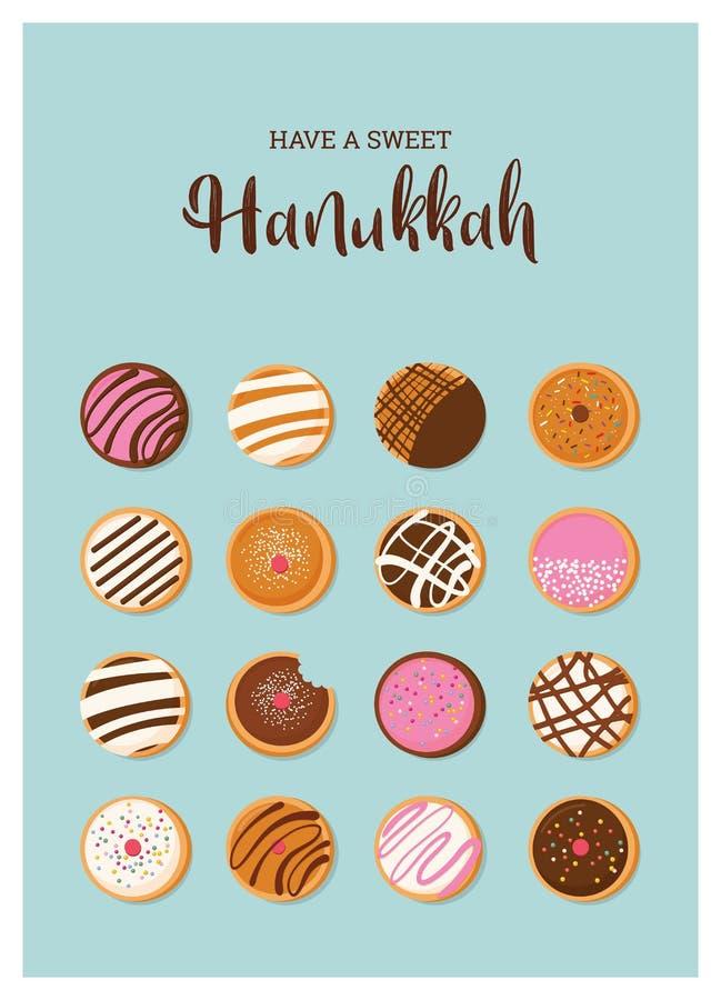 Buñuelo de Jánuca, símbolo judío del día de fiesta tradicionales dulces cuecen ilustración del vector