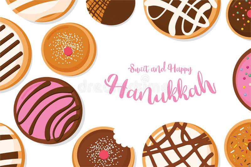 Buñuelo de Jánuca, símbolo judío del día de fiesta tradicionales dulces cuecen libre illustration
