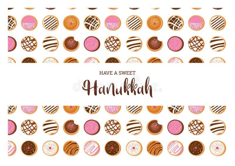 Buñuelo de Jánuca, símbolo judío del día de fiesta tradicionales dulces cuecen Tarjeta de felicitación ilustración del vector