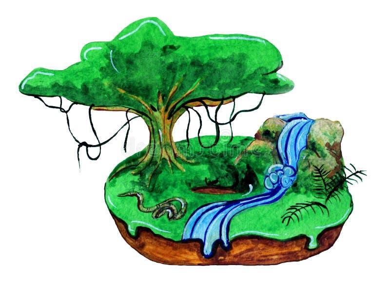 Buñuelo tropical con un árbol grande stock de ilustración