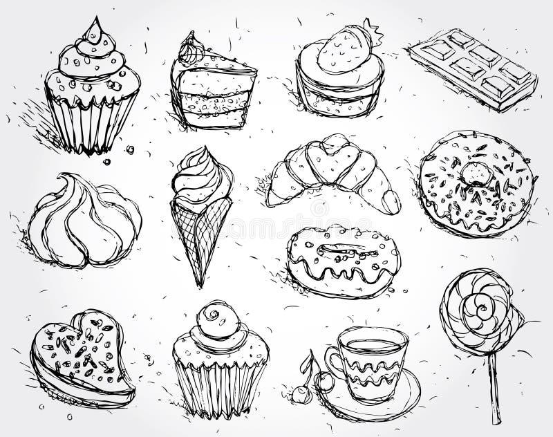 Buñuelo y café determinados dibujados mano de la torta del helado de la melcocha del caramelo de la magdalena del cruasán de la c ilustración del vector