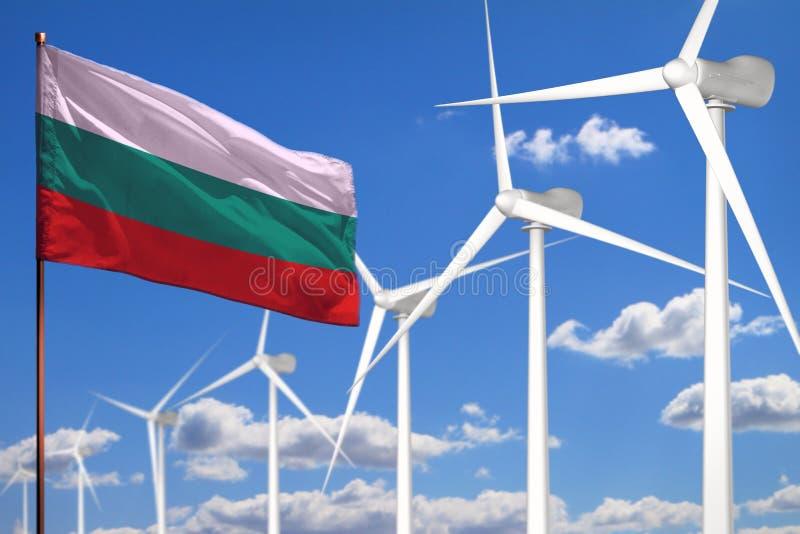Bułgaria alternatywna energia, wiatrowej energii przemysłowy pojęcie z wiatraczkami i chorągwiana przemysłowa ilustracja, - odnaw ilustracji