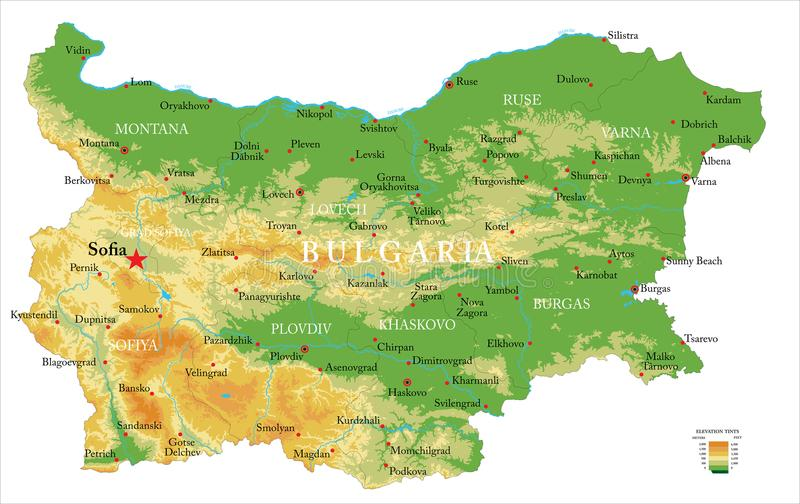 Bułgaria fizyczna mapa royalty ilustracja
