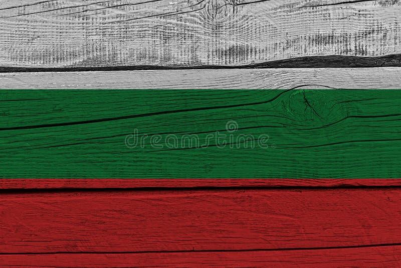 Bułgaria flaga malująca na starej drewnianej desce ilustracja wektor