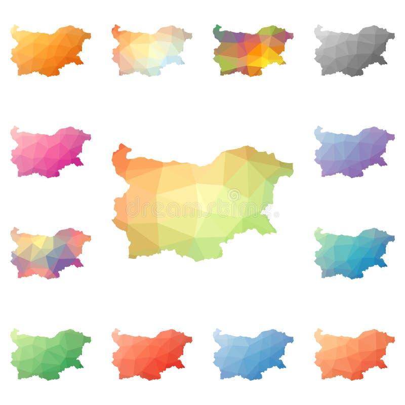 Bułgaria geometryczny poligonalny, mozaika stylu mapy ilustracja wektor