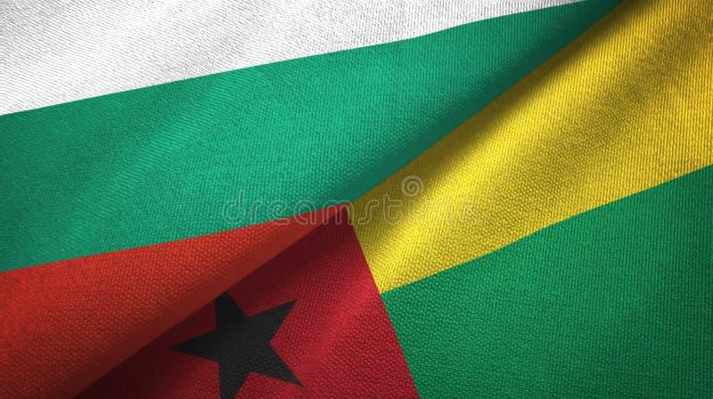 Bułgaria i Bissau dwa flagi tekstylny płótno, tkaniny tekstura royalty ilustracja